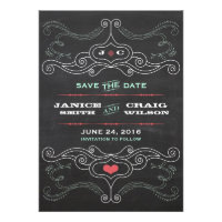 Chalkboard Poster (Pink & Mint) Save the Date Invitations