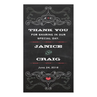 Chalkboard Poster (Pink & Mint) Wedding Favor Tags Business Card