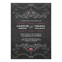 Chalkboard Poster (Pink & Mint) Wedding Invitations