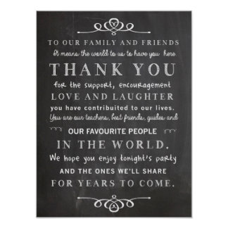 Chalkboard poster - thank you wedding sign