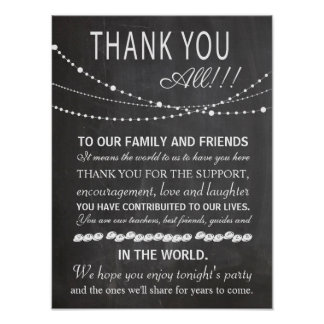 Chalkboard poster - thank you wedding sign - party