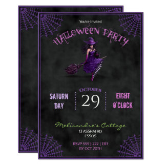 Chalkboard  Pretty Witch on Broom Halloween Card
