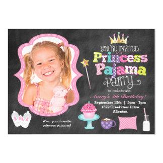 Chalkboard Princess Pajama Party Photo Invitation