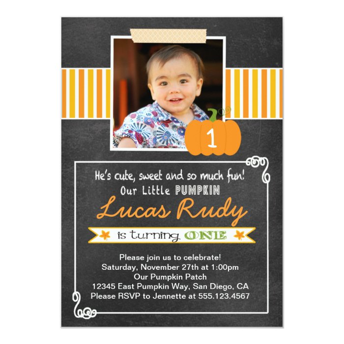 Chalkboard Pumpkin 1st Birthday Invitation