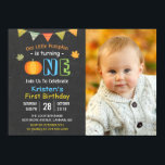 """Chalkboard Pumpkin Baby First Birthday Photo Invitation<br><div class=""""desc"""">Chalkboard Pumpkin Baby First Birthday Photo Invitation. (1) For further customization, please click the &quot;customize further&quot; link and use our design tool to modify this template. (2) If you prefer Thicker papers / Matte Finish, you may consider to choose the Matte Paper Type. (3) If you need help or matching...</div>"""
