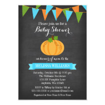 Chalkboard Pumpkin Bunting Boy Fall Baby Shower Card