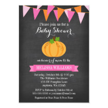 Chalkboard Pumpkin Bunting Girl Fall Baby Shower Card