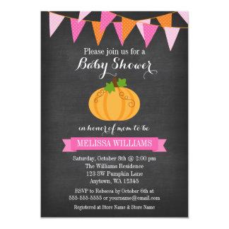 Chalkboard Pumpkin Bunting Girl Fall Baby Shower Card
