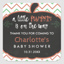 Chalkboard Pumpkin & Chevron Baby Shower Thank You Square Sticker