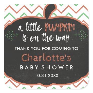 Halloween Themed Chalkboard Pumpkin & Chevron Baby Shower Thank You Square Sticker