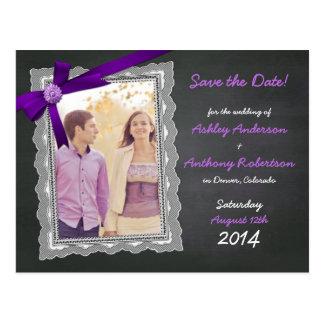 Chalkboard Purple Bow Photo Wedding Save the Date Postcard