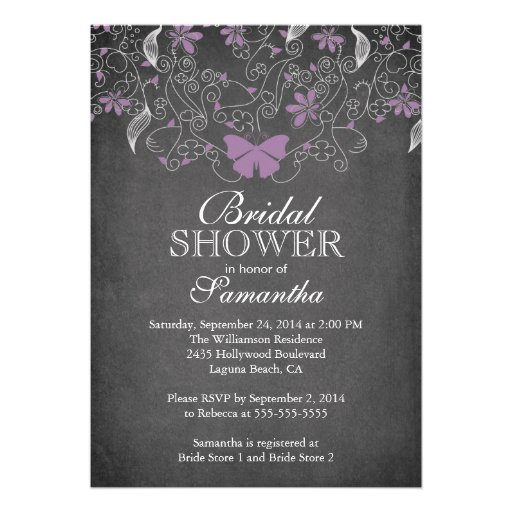 Chalkboard Purple Butterfly Floral Bridal Shower Invites