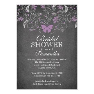 Chalkboard Purple Butterfly Floral Bridal Shower 5x7 Paper Invitation Card
