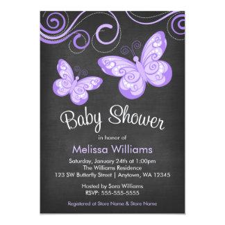 Chalkboard Purple Butterfly Swirls Baby Shower 5x7 Paper Invitation Card