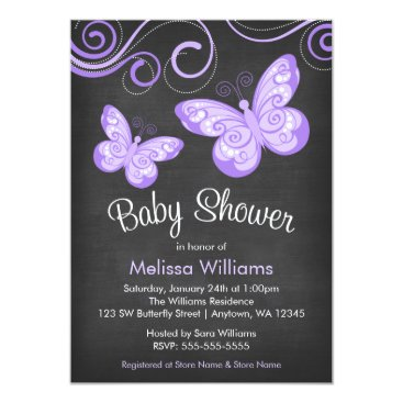 Toddler & Baby themed Chalkboard Purple Butterfly Swirls Baby Shower Card