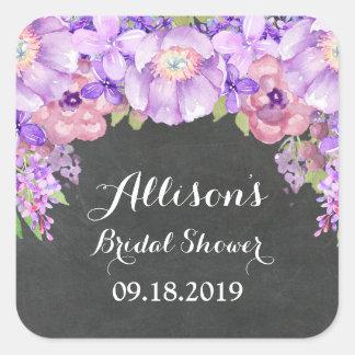Chalkboard Purple Floral Bridal Shower Favor Tag Square Sticker