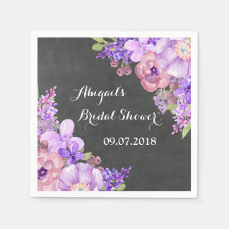 chalkboard purple floral bridal shower napkins