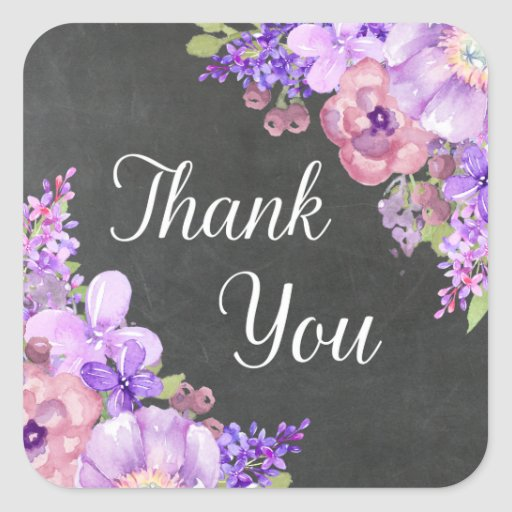 chalkboard purple flowers thank you favor tags square