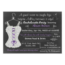 Chalkboard purple Lingerie Shower Bachelorette Card