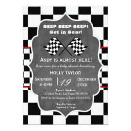 Chalkboard Racing Birthday Invitation