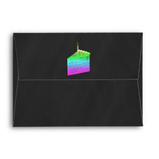 Chalkboard Rainbow Cake Slice Invitation Envelope