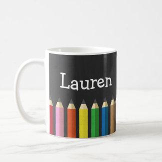 Chalkboard Rainbow Pencil Crayons Name Artist Mug