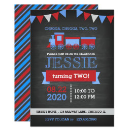 Train birthday cards greeting photo cards zazzle chalkboard red and blue train birthday card bookmarktalkfo Image collections