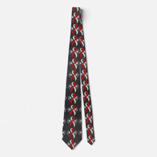 Chalkboard Red and White Ribbon Neck Tie