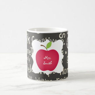 Chalkboard- Red Apple Teacher's Classic White Coffee Mug