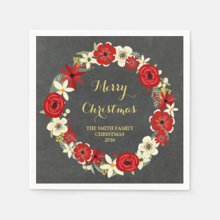 Chalkboard Red Floral Wreath Christmas Napkin at Zazzle