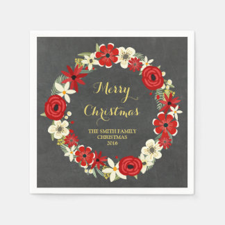 Chalkboard Red Floral Wreath Christmas Napkin