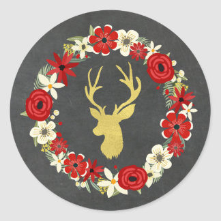Chalkboard Red Floral Wreath Gold Deer Christmas Classic Round Sticker