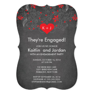 Chalkboard Red Heart with Flower Engagement Party 5x7 Paper Invitation Card