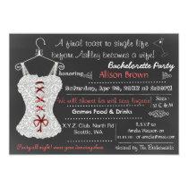 Chalkboard red Lace Lingerie Shower Bachelorette Card