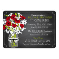 Chalkboard Red Poppies Jar Bridal Shower Invitation