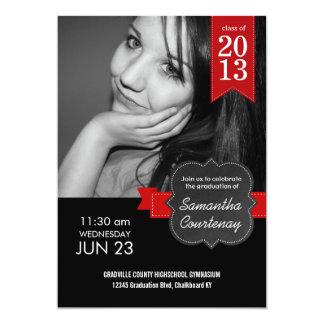 Chalkboard Red Ribbon Class of 2013 Big Photo Grad Card