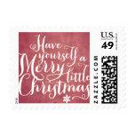Chalkboard Red Script Postage Stamp