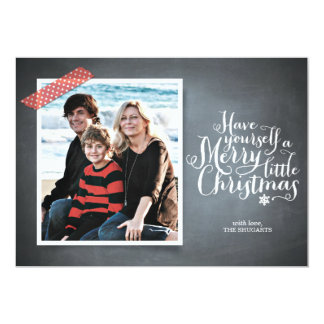 Chalkboard Red Washi Tape Script Holiday Card