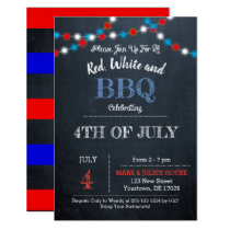 Chalkboard Red, White & Blue Party Invtitation Card