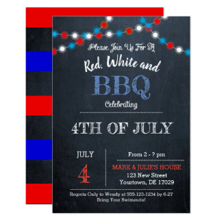 Chalkboard Red, White & Blue Party Invtitation Invitation