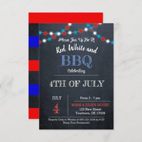 Chalkboard Red White  Blue Party Invtitation Invitation