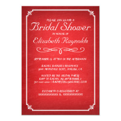 Chalkboard Red & White Bridal Shower Invitations