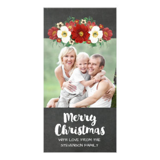 Chalkboard Red White Floral Merry Christmas Photo Card