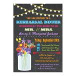 Chalkboard Rehearsal Dinner with mason jar flowers 5x7 Paper Invitation Card