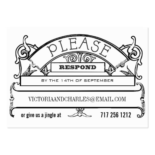 Chalkboard Response Email or Telephone Cards Business Card Template