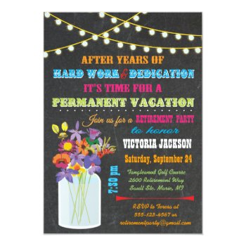 Chalkboard Retirement Party With Mason Jar Flowers Card by McBooboo at Zazzle