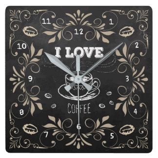 Chalkboard Retro Coffee Lovers Wall Clock