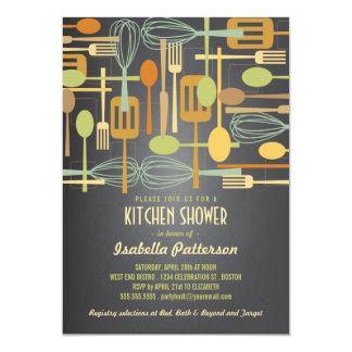 Chalkboard Retro Stock the Kitchen Bridal Shower Invite