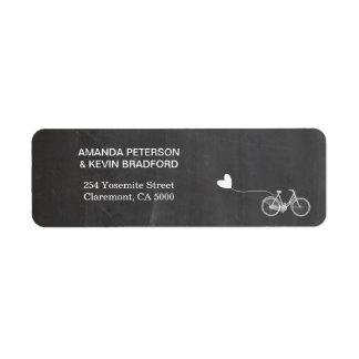 Chalkboard romantic bike return address label