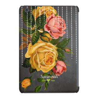 Chalkboard Romantic Heirloom Vintage Floral Roses iPad Mini Retina Covers